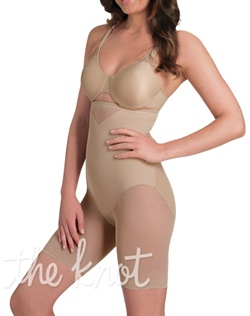 Thigh slimmer shapewear features extra-firm control, high-waist, sheer panels for adjustable fit, silicone lining on leg bands and shaping properties. Available in nude or black. Available in sizes M-2XL.