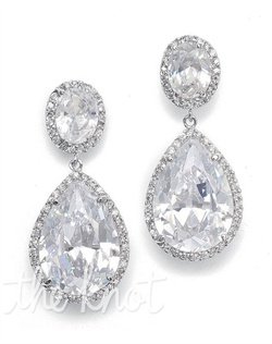 Rhodium-plated silver earrings feature cubic zirconia with pave cubic zirconia borders.