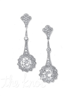 Rhodium-plated silver earrings feature faux marcasite, and pave and solitaire cubic zirconias.