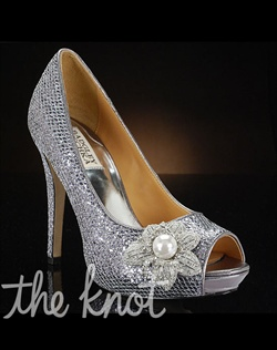 Silver glitter pumps feature multiple decorations to choose from. Exclusive to MyGlassSlipper.com