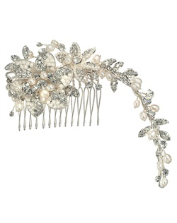 Rhodium plated comb features Swarovski crystals, rhinestones and freshwater pearls.