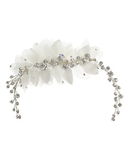 Comb features organza flower and rhinestones.