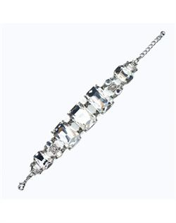 Rhodium-plated bracelet features Swarovski crystals and rhinestones. 7&quot; - 8-1/2&quot; L