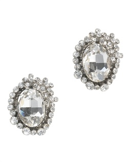 Earrings feature gunmetal finish, Swarovski crystals and large oval center stone.