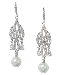 Rhodium-plated earrings feature cubic zirconia and faux pearls.