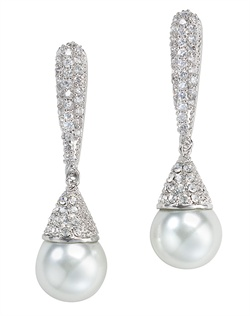 Earrings feature rhodium finish, cubic zirconia and faux pearls.
