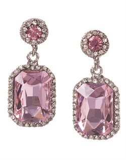 Earrings feature Swarovski crystals and rhinestones. Available in clear crystal, light rose, peridot, aqua, jonquil and light Colorado topaz.