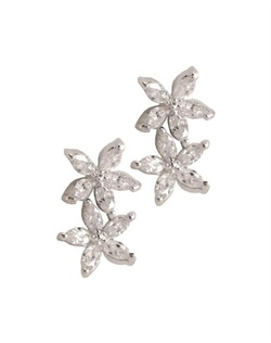 Earrings feature rhodium finish and marquise-shaped cubic zirconia.