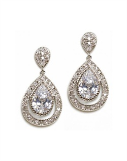 Earrings feature rhodium finish and cubic zirconia.