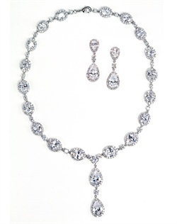 Set features rhodium finish and cubic zirconia.