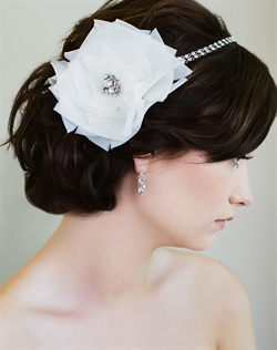 Headband features hand-folded silk origami rose with Swarovski rhinestone chain headband. Available in diamond white or pale ivory.