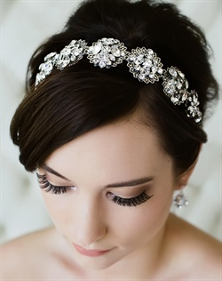 Filigree silk hair ribbon features Swarovski rhinestones. Available in diamond white, pale ivory or black.