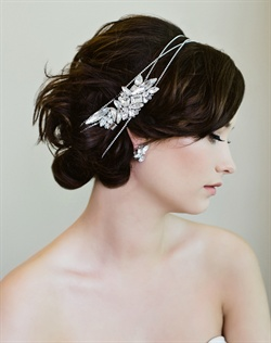 Silver Swarovski rhinestone chain hair wrap features Art Deco-style clips.