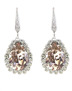"Rhodium or gold earrings features Swarovski crystals. Crystals available in vintage rose, gold shadow or clear. 1-1/4"" L"