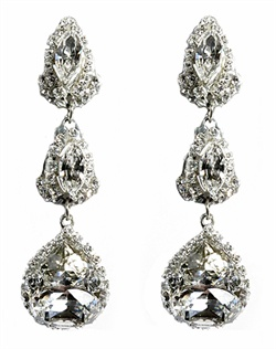 "Sterling silver chandelier earrings feature three tiers of Swarovski crystals. 2-1/2"" L"