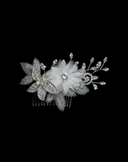 Features s soft ivory floral center with rhinestone accents and bugle bead encrusted leaves.