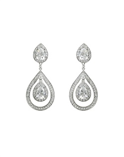 Rhodium plated cubic zirconia earrings measuring 11/2&quot; in length.