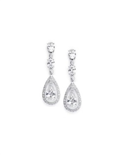 "Earrings features a teardrop design of sparkling CZ's. Earrings measure 2"" in length."