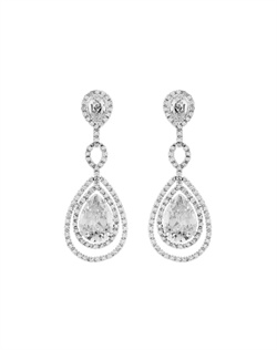 Features an intricate design of cubic zirconia framed with tiny stones. Measures 2&quot;.