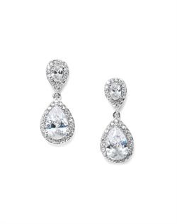 Features a pave design of teardrop dangle earrings. Measures 11/4&quot;.