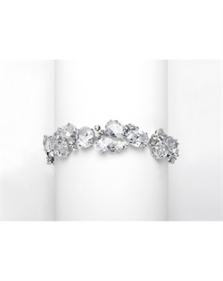 "Exquisite 7"" bridal bracelet is 5/8"" w with mixed shapes of Cubic Zirconia stones so it can coordinate with other CZ jewelry."