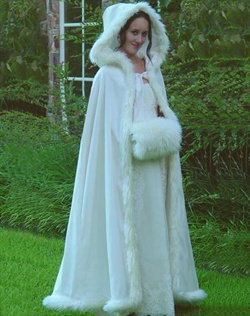 Satin Cloak Faux Fur Trimmed