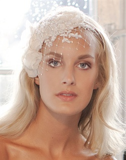 Chiffon flowers adorned with French lace and a mix of Preciosa pearls.