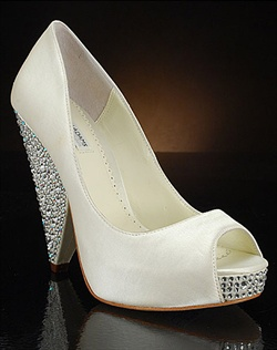 Cone wedge wedding shoe with crystal-covered heel