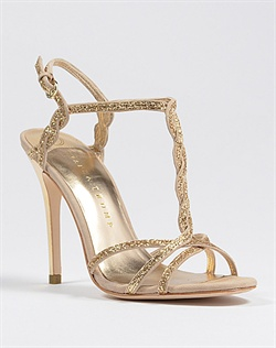 Gold strappy sparkly wedding shoe