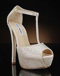 Sparkly champagne platform wedding shoe