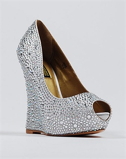 Crystal covered silver wedge wedding shoe.