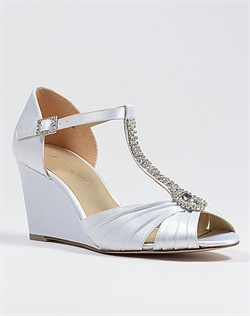 White satin wedge wedding shoe