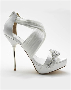 Strappy wedding shoes.