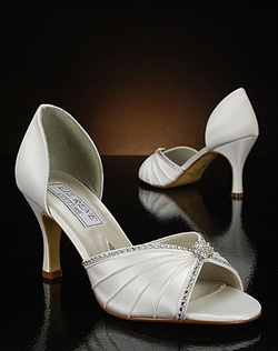White silk wedding shoe with rhinestones