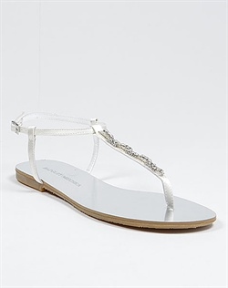 White metallic bridal sandal with rhinestones