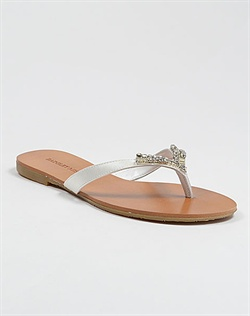 White metallic bridal sandal