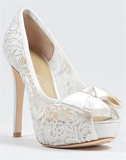 Lace platform wedding shoe with bow by Joan and David