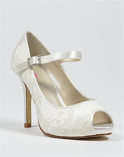 Mary Jane lace wedding shoe with peep toe and platform.
