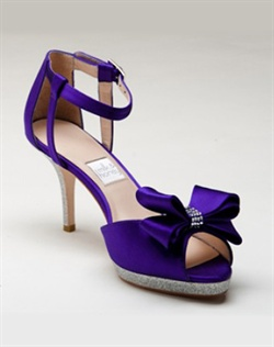 "Shown here in Princess Purple silk, Silver glitter and Swarovski crystals with a 3.5"" heel and .5"" platform."