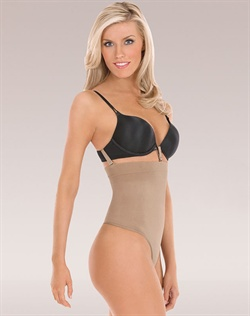 Loop and Strap system holds shaper in place while attaching to your bra. Slims waist, back and tummy. No visible panty line. Targeted compression for defined shape. Seamless and breathable microfiber that wicks moisture away from the body. Cotton lined gusset with snaps for convenience and comfort. Care: Machine wash delicate with like colors, hang to dry. Do not bleach, iron or dry clean.