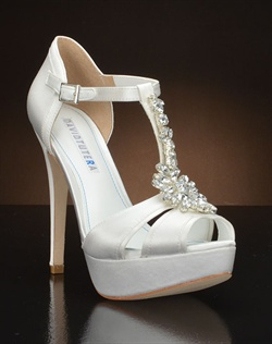 Satin platform wedding shoes with crystals.