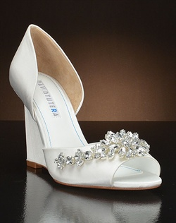 D'orsay Bridal Wedge with crystals