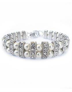 Double Swarovski glass pearl bracelet with crystal accented rhodium plated spacers. Accented with cubic zirconia inlaid clasp.