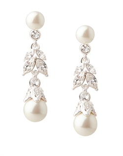The Lily Floral Pearl Linear Drop Pierced Earrings