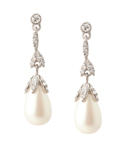 The Victoria Crystal and Pearl Linear Drop Pierced Earrings