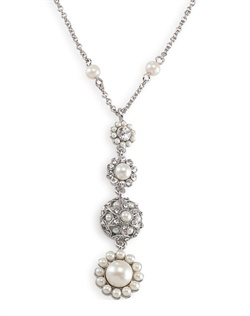 The Elyse Pearl and Crystal Floral Pendant Necklace