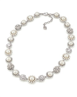 The Felicia Crystal and Pearl Floral Necklace