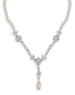 The Ariel Crystal and Pearl Y Necklace