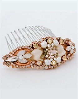 Haute Bride Rose Gold Ribbon Hair Comb