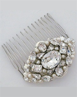 Cheryl King Couture Crystal Comb with Pearls